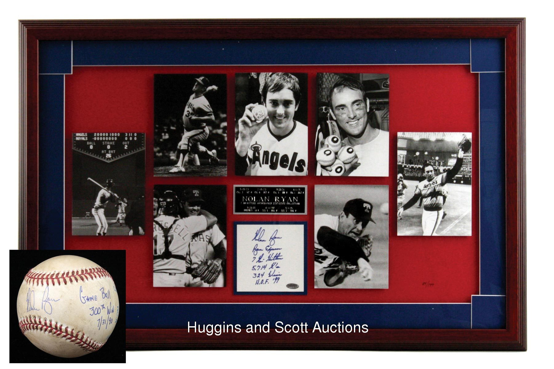 Signed Game Used Nolan Ryan 300th Win Baseball And Framed