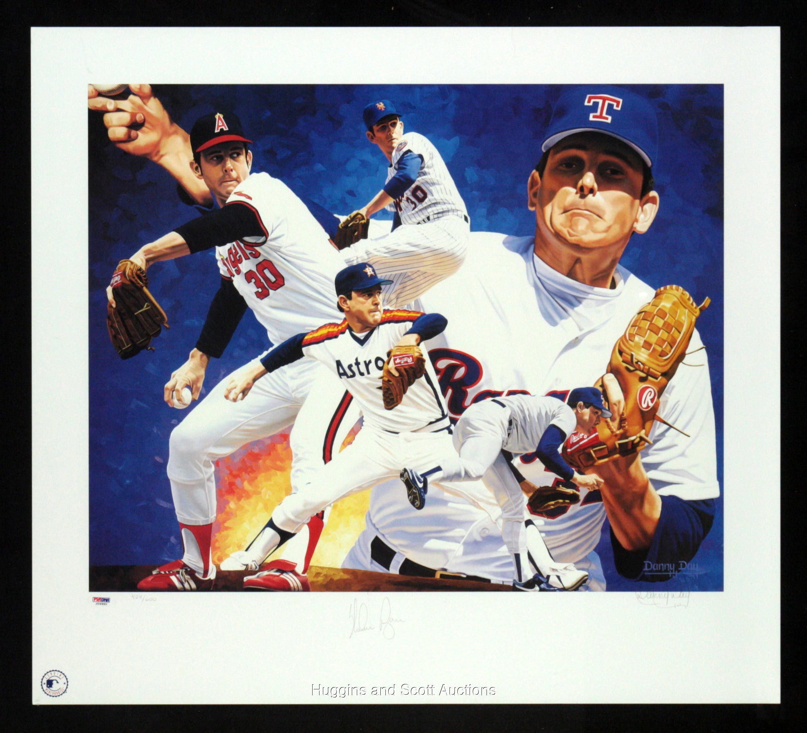 NOLAN RYAN AUTOGRAPHED LIMITED EDITION HALL OF FAME LITHOGRAPH BY DANNY DAY